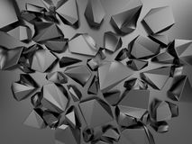 3d metallic abstract crystal background. Creative 3d black metallic abstract faceted crystal background Royalty Free Stock Image