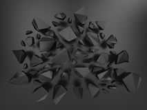 3d metallic abstract crystal background. Creative 3d black abstract faceted crystal background Royalty Free Stock Photos