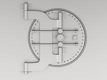 3d Metallic bank vault with closed door. Royalty Free Stock Images