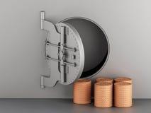 3d Metallic bank vault with door open and coins. Stock Images