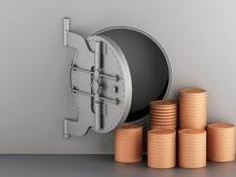 3d Metallic bank vault with door open and coins. Stock Image