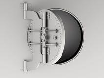 3d Metallic bank vault door open. Royalty Free Stock Photo