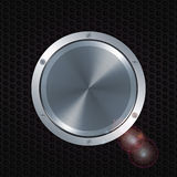 3D metallic button with screws over honeycomb metal plate Royalty Free Stock Image