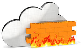 3d metallic cloud with firewall Royalty Free Stock Photo
