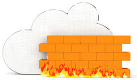 3d metallic cloud with firewall Stock Images