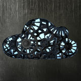 3d metallic cloud with gears box.  stock illustration