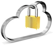 3d metallic cloud with padlock. On white background Stock Photo