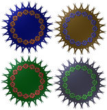 3D metallic seals with fancy trimmings and flowers Stock Photography