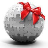 3d metallic spherical puzzle Royalty Free Stock Images