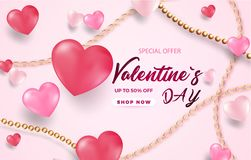 3d metallic white and pink hearts with golden beads and chains on a gentle pink background. Decorative love concept for valentines stock illustration