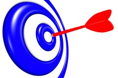 3D metaphors - aiming in target / darts... Dart arrow aiming in dartboard Stock Image