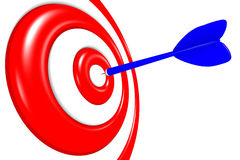 3D metaphors - aiming in target / darts... Dart arrow aiming in dartboard Royalty Free Stock Image