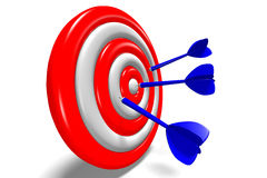 3D metaphors - aiming in target / darts... Dart arrows aiming in dartboard Royalty Free Stock Images