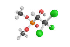 3d Metrifonate结构,不可逆的有机磷酸盐一点 库存图片