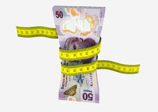 3D Mexican Currency with Measure tape Royalty Free Stock Image
