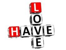 3D miłości Crossword Zdjęcie Royalty Free