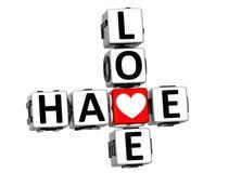 3D miłości Crossword Fotografia Royalty Free