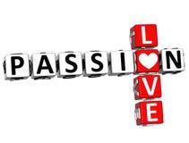 3D miłości Crossword Pasyjny tekst Fotografia Stock