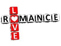 3D miłości Crossword Romansowy tekst Zdjęcia Stock