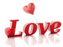 3d miłości kierowa czerwień valentines dnia pojęcia biel royalty ilustracja