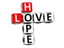 3D miłości nadziei Crossword Zdjęcia Royalty Free