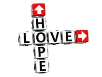 3D miłości nadziei Crossword Fotografia Stock