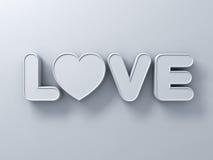 3d miłości słowa pojęcie z białym sercem na białym tle z cieniem, valentines dzień 3D Ilustracja Wektor