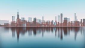 3D miasta Chicagowscy drapacze chmur odbijający w wodzie ilustracja wektor