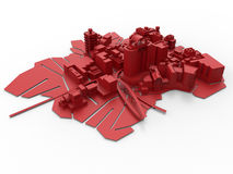 3D miasta drukowany układ Zdjęcia Royalty Free