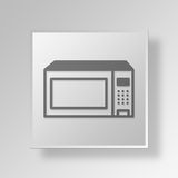 3D micro-onde Oven Button Icon Concept illustration de vecteur