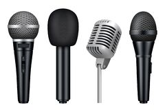 3d microfoons Mic van de muziekstudio misc geïsoleerde materiaal vector realistische beelden van uitstekende stijlmicrofoons vector illustratie