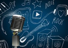 3D Microphone against blue background with music icons drawings indie rock pop. Digital composite of 3D Microphone against blue background with music icons Royalty Free Stock Photography