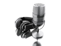 3d A microphone with black headphones. Royalty Free Stock Photo
