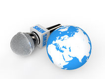 3d microphone and earth globe Stock Photography