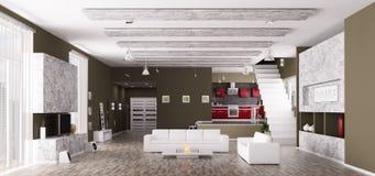 3d mieszkanie panorama wewnętrzna nowożytna odpłaca się Fotografia Stock