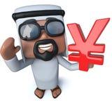 3d Śmiesznej kreskówki arabski sheik trzyma jen waluty symbol Zdjęcia Stock