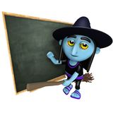 3d Śmiesznej kreskówki Halloweenowa czarownica na broomstick przed blackboard royalty ilustracja