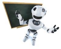 3d Śmiesznej kreskówki robota charakteru machinalna pozycja przed blackboard royalty ilustracja