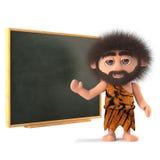 3d Śmieszny caveman przy blackboard Zdjęcie Royalty Free
