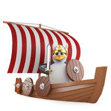 3d Might viking warrior penguin in his warship. 3d render of a penguin dressed as a Viking standing in his longship Royalty Free Stock Photo