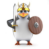 3d Mighty academic penguin Viking warrior. 3d render of a penguin dressed as a Viking Royalty Free Stock Photography