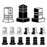 3d milestone boundary stone black symbols Stock Photos