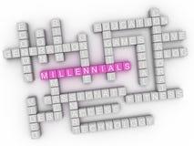 3d Millennials概念词云彩 免版税库存照片