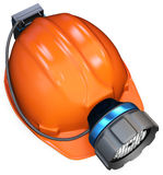3d miner helmet with lamp and battery Stock Image