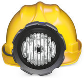 3d miner helmet with lamp and battery Stock Photography