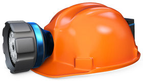3d miner helmet with lamp and battery Royalty Free Stock Image