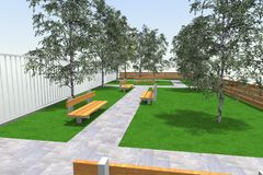 3D Mini Park Royalty-vrije Stock Afbeeldingen