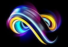 3D Minimal Abstract Background. Neon Liquid Futuristic Shape. 3D Minimal Abstract Background. Neon Liquid Futuristic Shape with Shiny Waves. Modern Colorful Royalty Free Stock Images