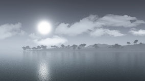 3D misty island landscape. 3D render of a misty island landscape Royalty Free Stock Photo
