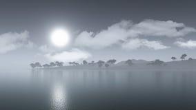 3D misty island landscape Royalty Free Stock Photo